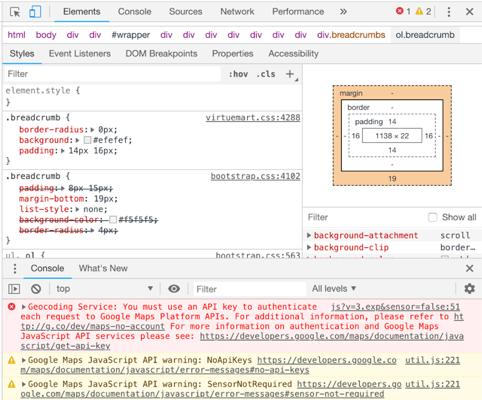 capture ecran erreur gmap api